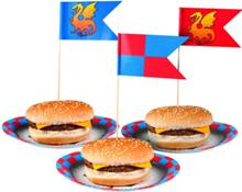 12 stk Flagg til Mat og Kaker - Riddere og Drager