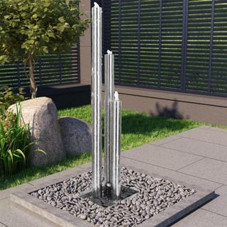 vidaXL Trädgårdsfontän silver 48x34x153 cm rostfritt stål