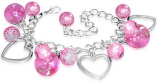 Sølvfarget Armbånd med Hjerter og Rosa Perler