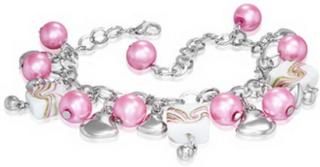 Sølvfarget Armbånd med Fylte Hjerter og Rosa Perler