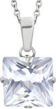Silverfärgat Smycke med Klar Fyrkantig Sten
