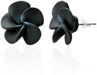 Hawaii Blomster - 15 mm Svarte Stikk Øredobber