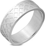 Silverfärgad Ring i Stål med Rutmönster