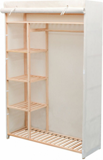 Garderobeskap i stoff og furu - 110x40x170 cm
