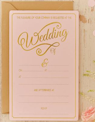 10 st Pastellrosa Bröllopskort till Kyrka och Fest