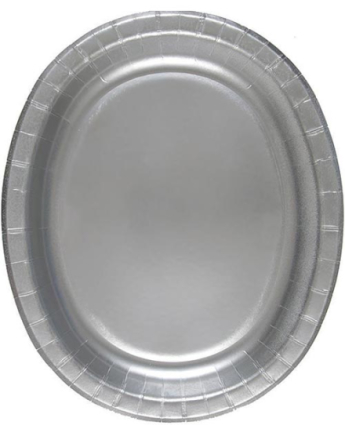 8 stk Sølvfargede Ovale Papptallerkener/Serveringsfat 31x25 cm