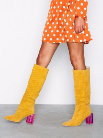 Knee-high - Mustard NLY Shoes Corduroy Glass Heel Boot