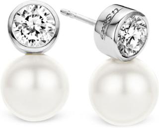 Ti Sento - Øredobber med Hvite Perler og Krystall