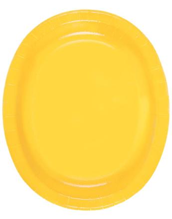 8 stk Gule Ovale Papptallerkener/Serveringsfat 31x25 cm