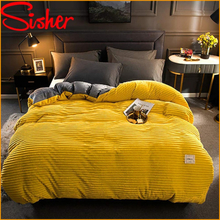 Winter Velvet Duvet Cover Set Solid Color Thick Coral Bedding Set 220x240 Elastic Fitted Bed Sheet Linens Quilt Bed Covers Gray