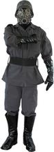 WW2 Soldat Luksus Kostyme med Gassmaske