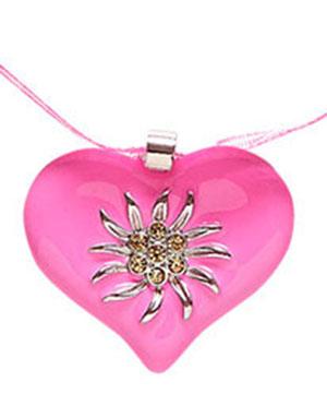 Rosa Oktoberfestsmykke med Hjerte og Edelweiss Blomst