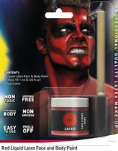 Rød Flytende Latex UTEN AMMONIAKK for Ansikt og Kropp med Svamp Kost 56 ml