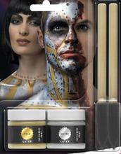 Guld och Silver Metallisk Sminkset med Flytande Latex 2x 29,5 ml med 2 stk Borstar