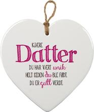 Kjære Datter - Porselenshjerte med Tekst 15 cm