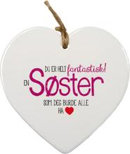 Søster - Porselenshjerte med Tekst 15 cm