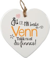 Min Beste Venn - Porselenshjerte med Tekst 15 cm