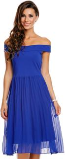 Blå Off-Shoulder Kjole med Chiffon-Stoff