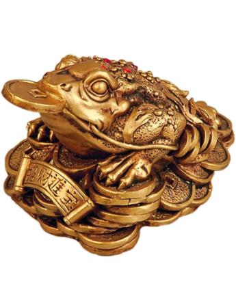 Gullfarget Pengefrosk Figur 9 cm
