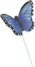 Lilla Sommerfugl Blomsterpinne med Figur - 20 cm