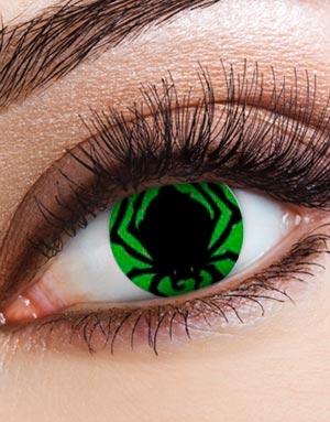 Grønne Crazylinser med Svart Edderkopp