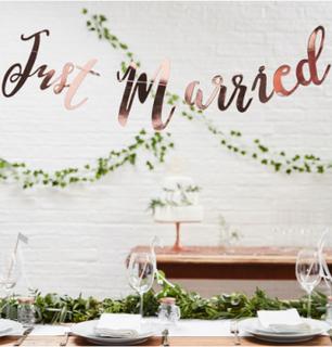 Just Married Rose Gullfarget Banner 1,5 Meter - Botanisk Bryllup
