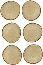 6 stk Runde Bordkort i Treverk