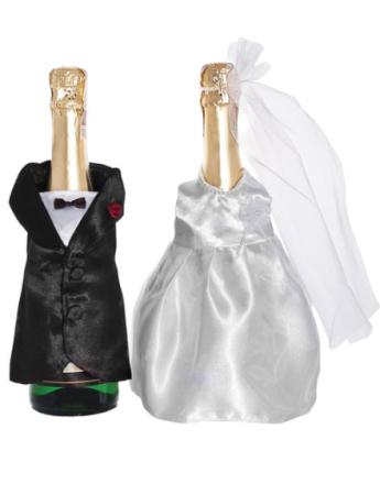 Dekorasjonsett til to Champagneflasker For Bryllup
