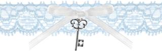 Ljusblått Strumpeband med Rosett och Nyckel
