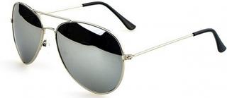 Pilot Solbriller med Sølv Stel og Grønt Glas 1 stk