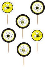 6 stk Søte Kaketopper 9 cm - Honningbie