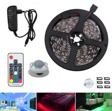 LED Motion Sensor Cupboard Wardrobe Bed lamp Under Cabinet Night light 5050 rgb LED Strip 12V Tape 110V 220V US EU Power Supply