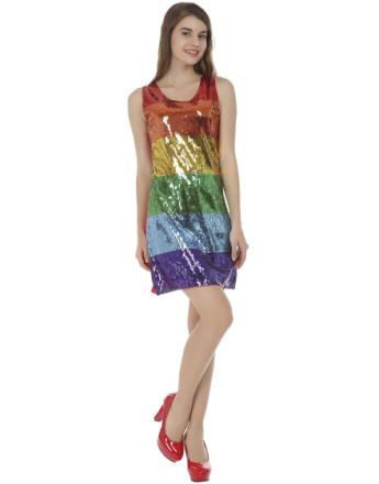 Rainbow Partyklänning med Paljetter