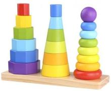 Tooky Toy - Stapelleksak I Trä Geometriska Former För Barn