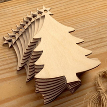 10pcs Wooden Round Baubles Tags Christmas Trees Balls Decorations Art Craft Ornaments Christmas DIY Craft Toys Gifs For Children
