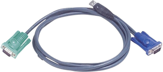 KVM Tilslutningskabel ATEN 2L-5202U 1.8 m Sort