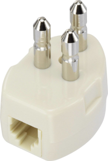 Telefon (analog) Tilslutningskabel [1x Telefon-stik Sverige - 1x RJ11-stik 6p4c] 1 m Hvid