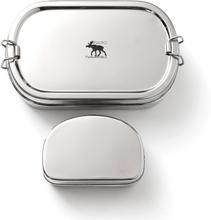Pulito oval madkasse i rustfrit stål, inkl. Snackboks