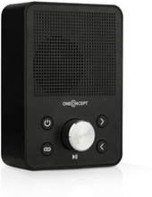 Plug+Play FM stickkontakt-radio, FM-tuner, USB, BT, svart