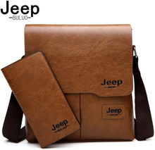 JEEP BULUO Man's Bag 2PC/Set Men Leather Messenger Shoulder Bags Business Crossbody Casual Bags Famous Brand Male Drop Shipping