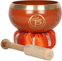 Traditionell chakra tibetansk singing bowl m klubba o kudde.519g