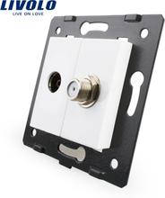 Livolo EU Standard Socket Accessory For DIY Products,The Base of Socket TV+ SATV Socket VL-C7-1VST-11