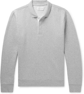 Mélange Fleece-back Cotton-blend Jersey Polo Sweatshirt - Light gray