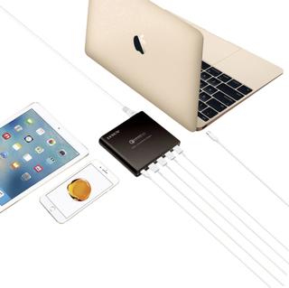 LVSUN 80W USB-C, QC3.0 LS-Q5U-PD USB-opladerstation Stikdåse Udgangsstrøm max. 17000 mA 5 x USB 3.0 tilslutning A, USB-C bøsning USB Power Delivery (USB-PD)