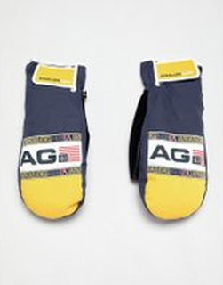 Analog Gentry snowboard mitts in navy/yellow - Navy