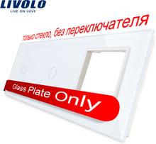 Livolo White Pearl Crystal Glass,222mm*80mm,EU standard,2Gang &1 Frame Glass Panel,C7-C1/C1/SR-11 (4 Colors),only panel,no logo