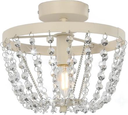 vidaXL Taklampa med kristallpärlor vit rund E14