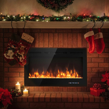 """COSTWAY High Quality Adjustable Temperature 40 """" Electric Fireplace Recessed Wall Mounted with Multicolor Flame Touch Screen"""
