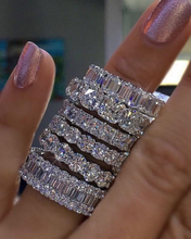 925 SILVER PAVE SETTING FULL SQUARE Simulated Diamond CZ ETERNITY BAND ENGAGEMENT WEDDING Stone Rings Size 5,6,7,8,9,10,11,12