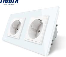 Livolo EU Standard Wall Power Socket, 4colors Crystal Glass Panel, Manufacturer of 16A Wall Outlet, C7C2EU-11/12/13/15
